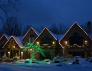 Residential Christmas Decor Nighttime View